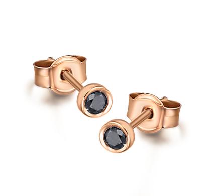 2992691e9a8c Pendientes Oro Rosa Diamantes Negros