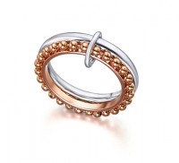 Anillo New Bubbles Plata/Oro Rosa