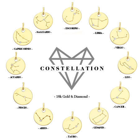 constellation colección horoscopo con contelación en oro con diamante