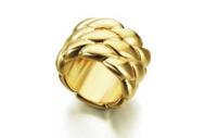 Anillo de plata ancho recubierto de Oro