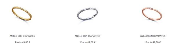Anillos minimalistas con diamantes