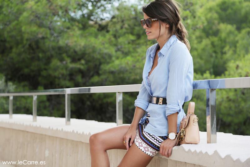 Camisa de algodón azul
