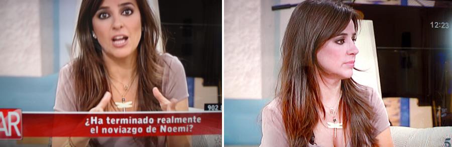 La presentadora Carmen Alcaide con colgante de libélula