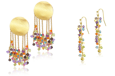 Pendientes de la colección LETS PARTY LECARRE con piedras de colores