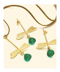 Pendientes y colgantes de libélula de plata recubierta de Oro