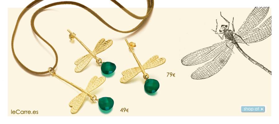 Pendientes libélula de plata recubierta de Oro de leCarré joyas